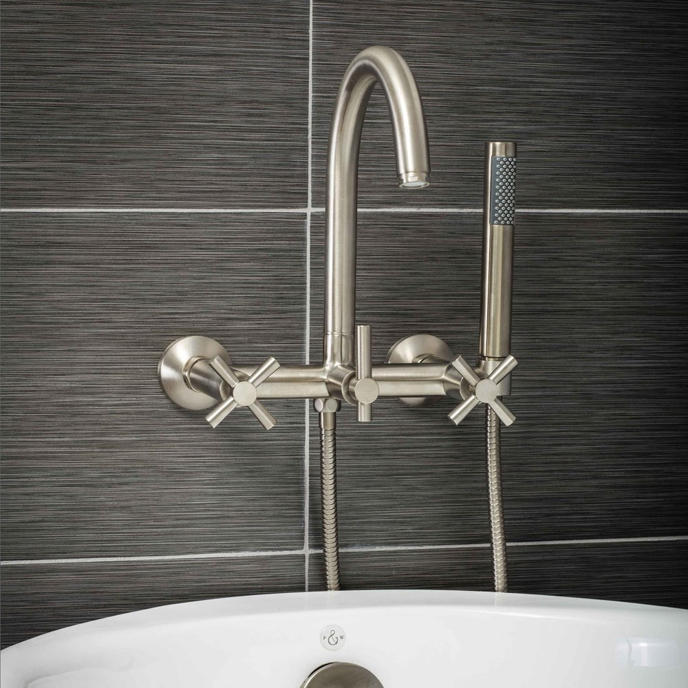 wall mount tub filler faucet in brushed nickel with cross handles