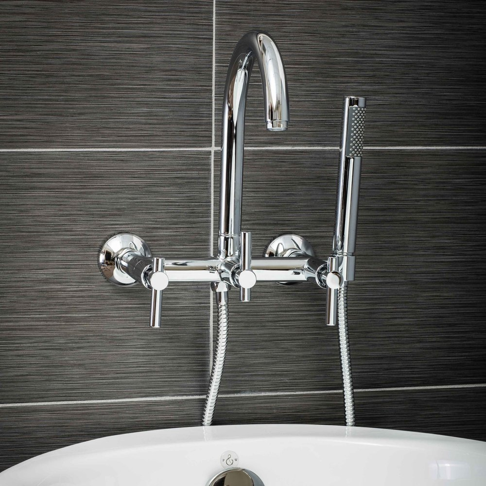 Pelham and White- Contemporary Wall Mount Tub Filler Faucet in Chrome with Metal Levers- Main