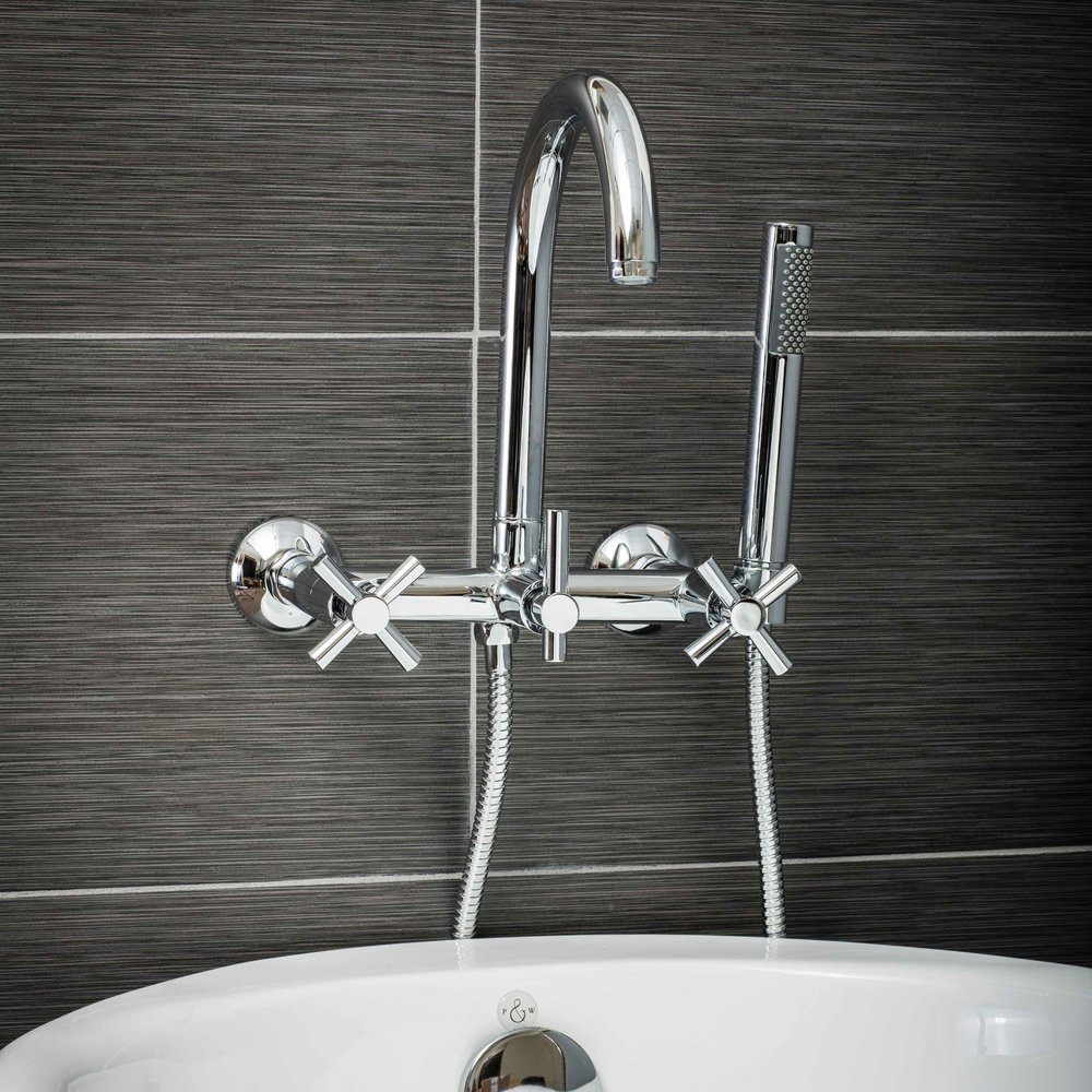 Pelham and White- Contemporary Wall Mount Tub Filler Faucet in Chrome with Cross Handles- Main