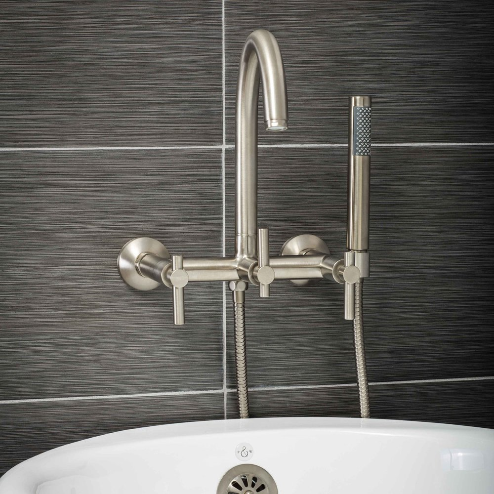 Pelham and White- Contemporary Wall Mount Tub Filler Faucet in Brushed Nickel with Metal Levers- Main