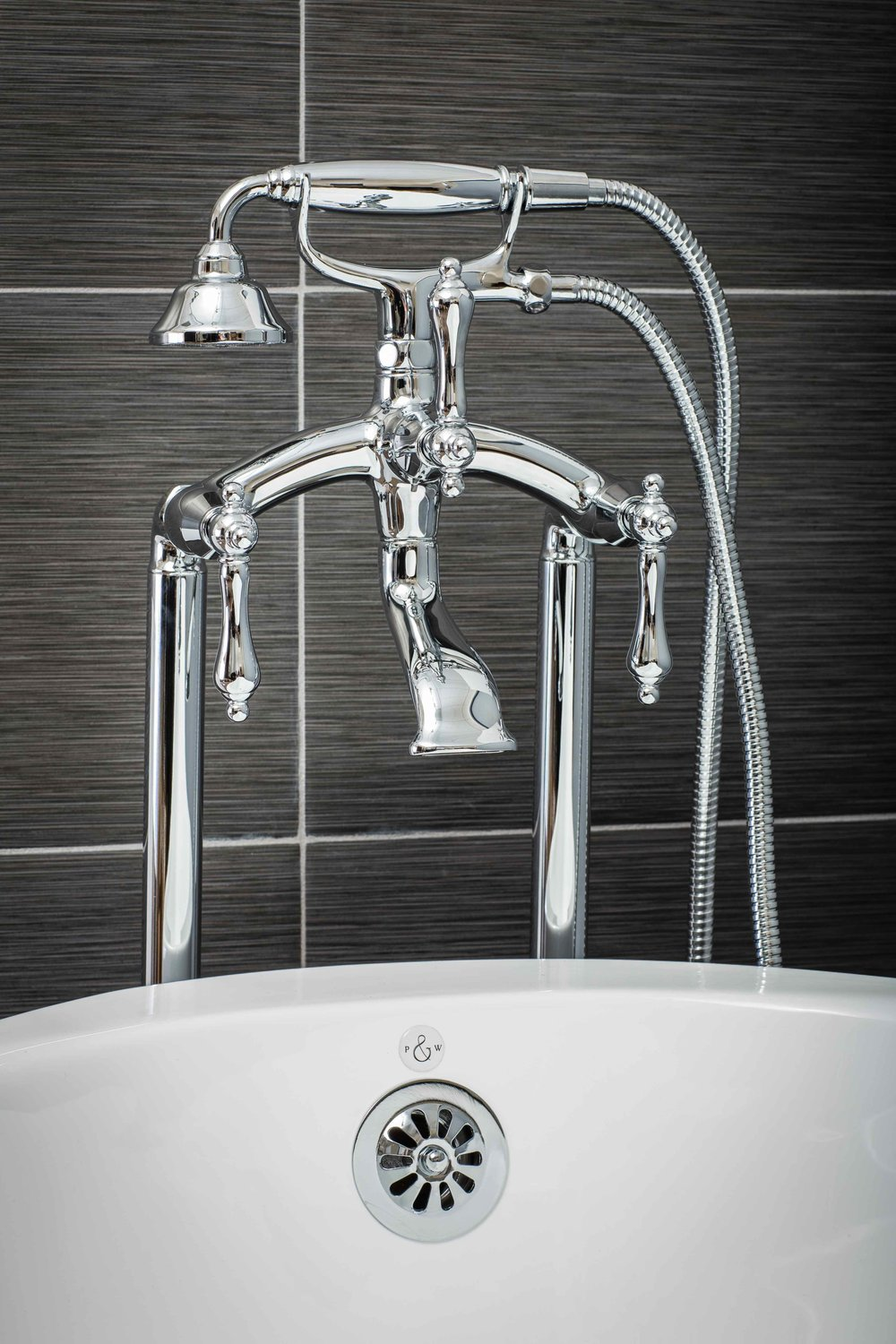 Vintage Floor Mount Tub Filler Faucet in Chrome with Levers — Pelham ...