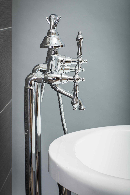 Vintage Floor Mount Tub Filler Faucet in Chrome with Levers — Pelham ...