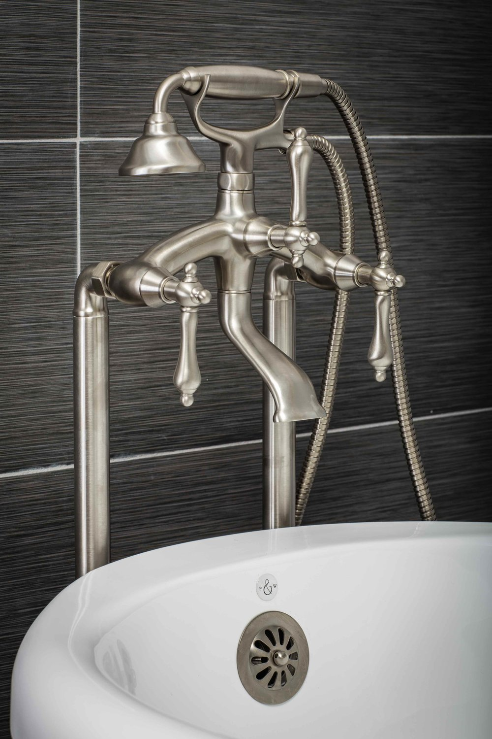 Vintage Floor Mount Tub Filler Faucet in Brushed Nickel with Levers ...