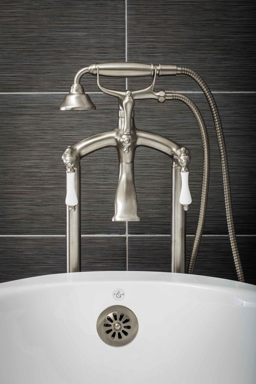 Vintage Floor Mount Tub Filler Faucet in Brushed Nickel with ...