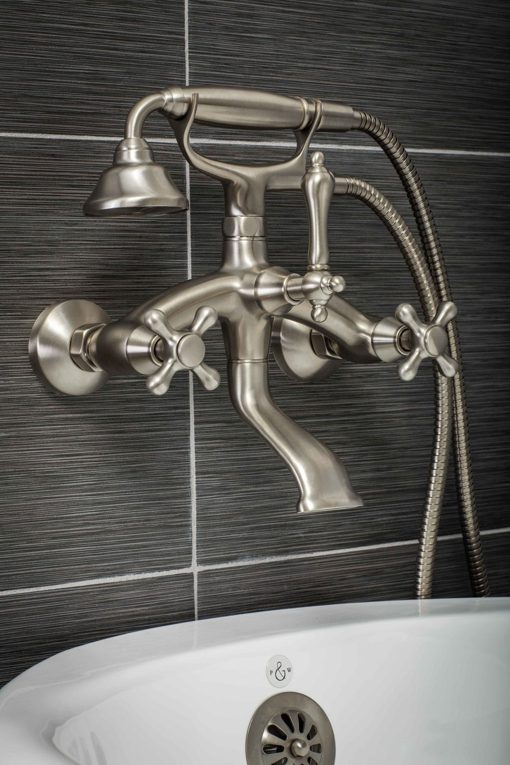 Vintage Wall Mount Tub Filler Faucet in Brushed Nickel with Cross ...