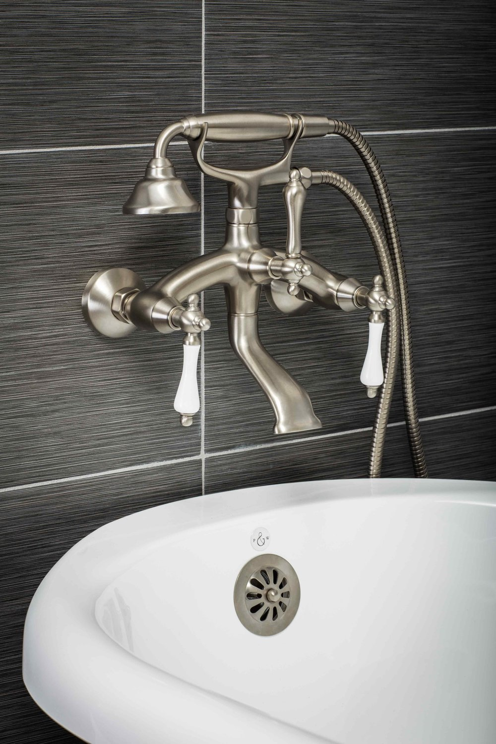 Vintage Wall Mount Tub Filler Faucet in Brushed Nickel with ...