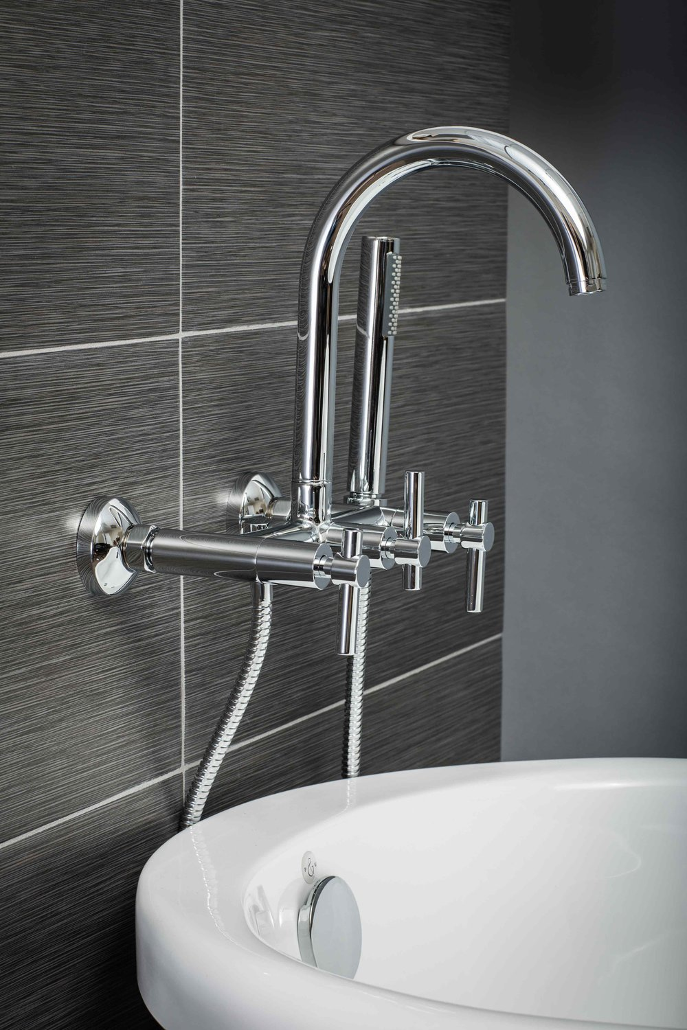 Contemporary Wall Mount Tub Filler Faucet in Chrome with Levers ...