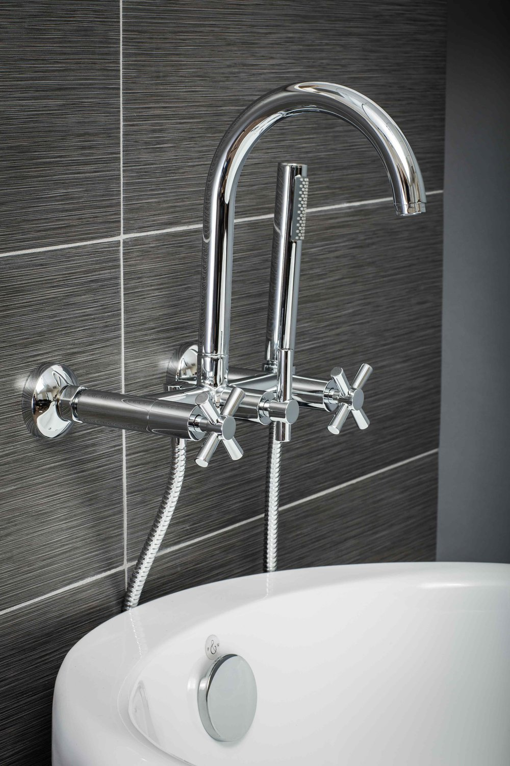 Contemporary Wall Mount Tub Filler Faucet in Chrome with Cross ...