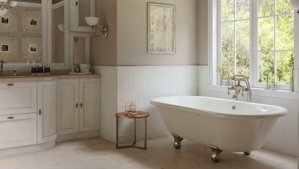 Ideas Inspiration Pelham And White - Modern bathroom with clawfoot tub