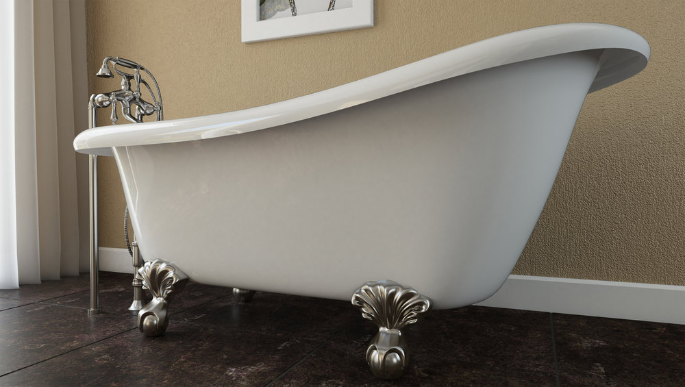 "Brookdale 60"" Clawfoot Slipper Tub in White, Nickel Ball & Claw Feet    $1099.95"
