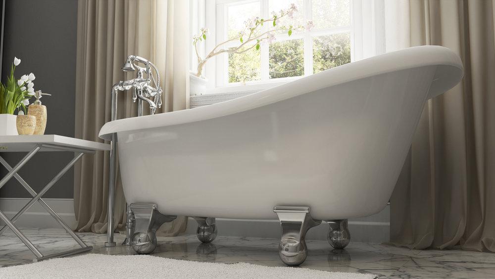 "Brookdale 60"" Clawfoot Slipper Tub in White, Chrome Cannonball Feet  $1099.95"