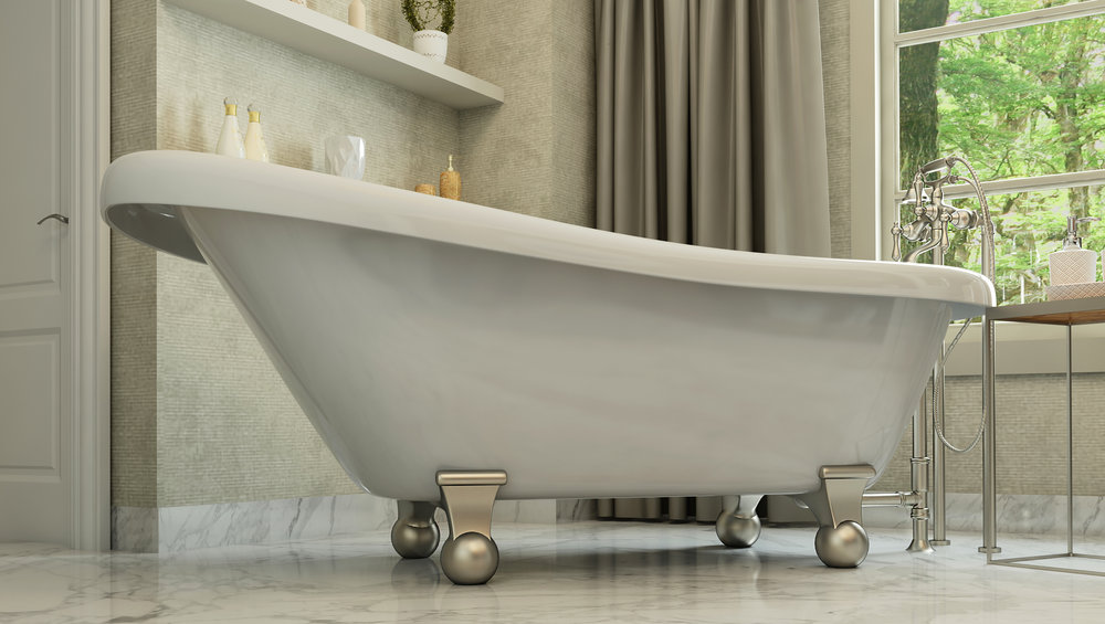 "Brookdale 60"" Clawfoot Slipper Tub in White, Nickel Cannonball Feet  $1099.95"