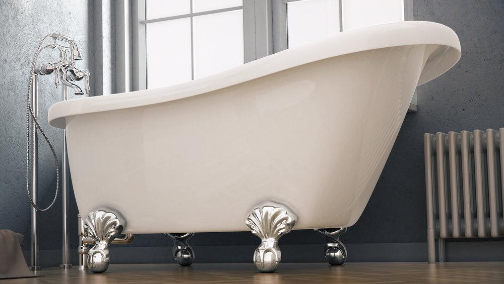 """Brookdale 60"""" Clawfoot Slipper Tub in White, Chrome Ball &Claw Feet  $1099.95"""