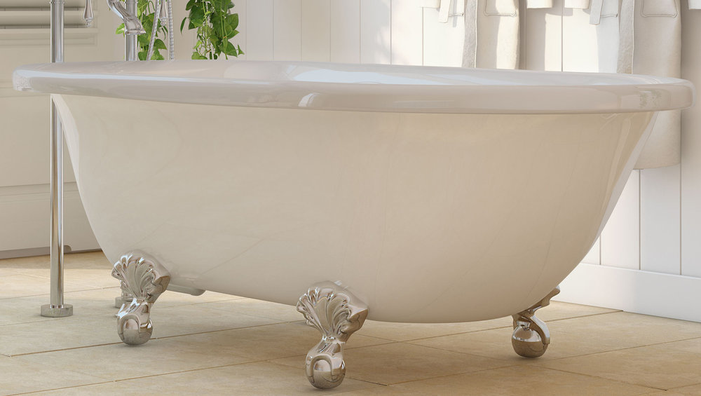 "Laughlin 60"" Clawfoot Tub in White, Chrome Ball & Claw Feet    $1099.95"
