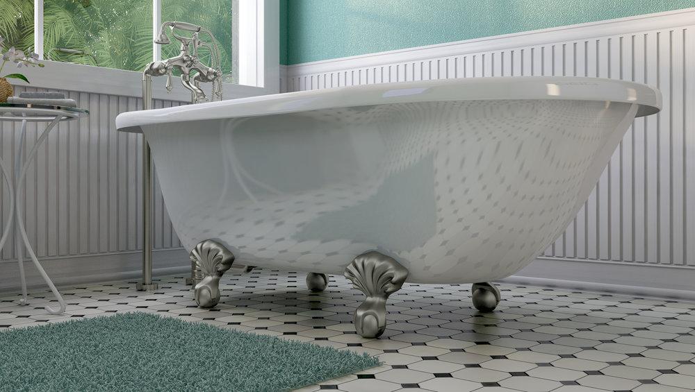 "Laughlin 60"" Clawfoot Tub in White, Nickel Ball &Claw Feet   $1099.95"