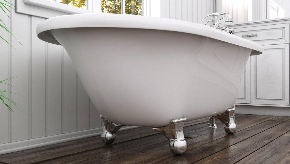 """Laughlin 60"""" Clawfoot Tub in White, Chrome Cannonball Feet  $1099.95"""
