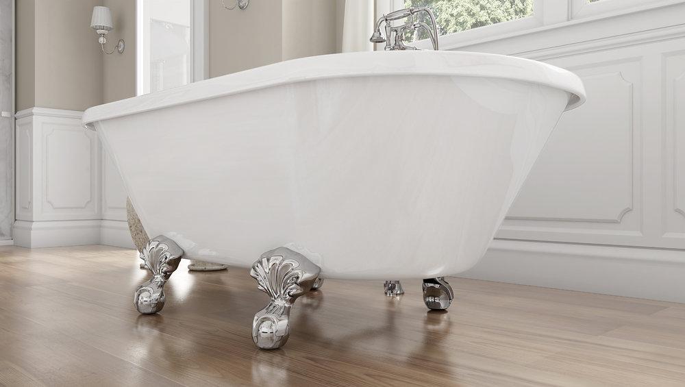 """Dalton 60"""" Clawfoot Tub in White, Chrome Ball &Claw Feet   $1099.95"""