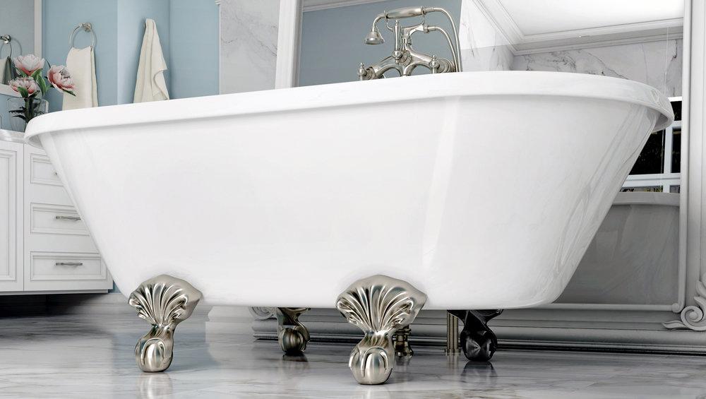 """Dalton 60"""" Clawfoot Tub in White, Nickel Ball & Claw Feet   $1099.95"""
