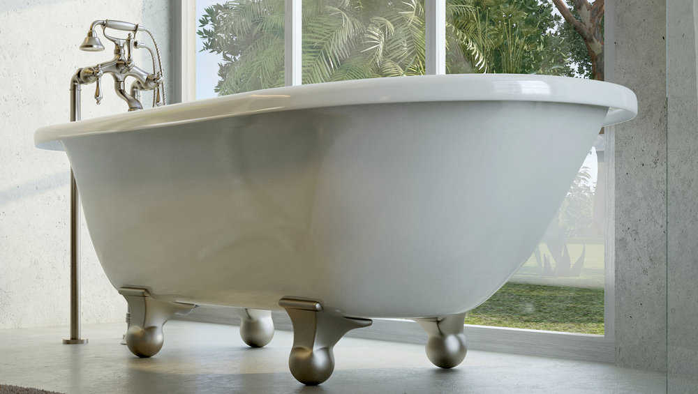 "Laughlin 60"" Clawfoot Tub in White, Nickel Cannonball Feet    $1099.95"