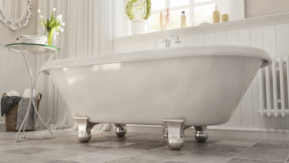 "Dalton 60"" Clawfoot Tub in White, Chrome Cannonball Feet   $1099.95"