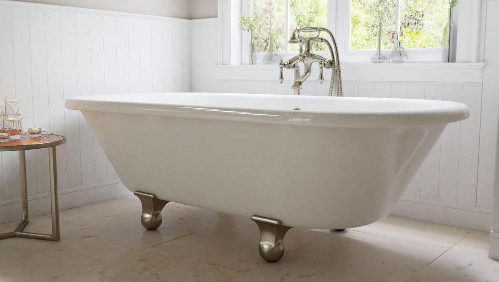 """Dalton 60"""" Clawfoot Tub in White, Nickel Cannonball Feet   $1099.95"""