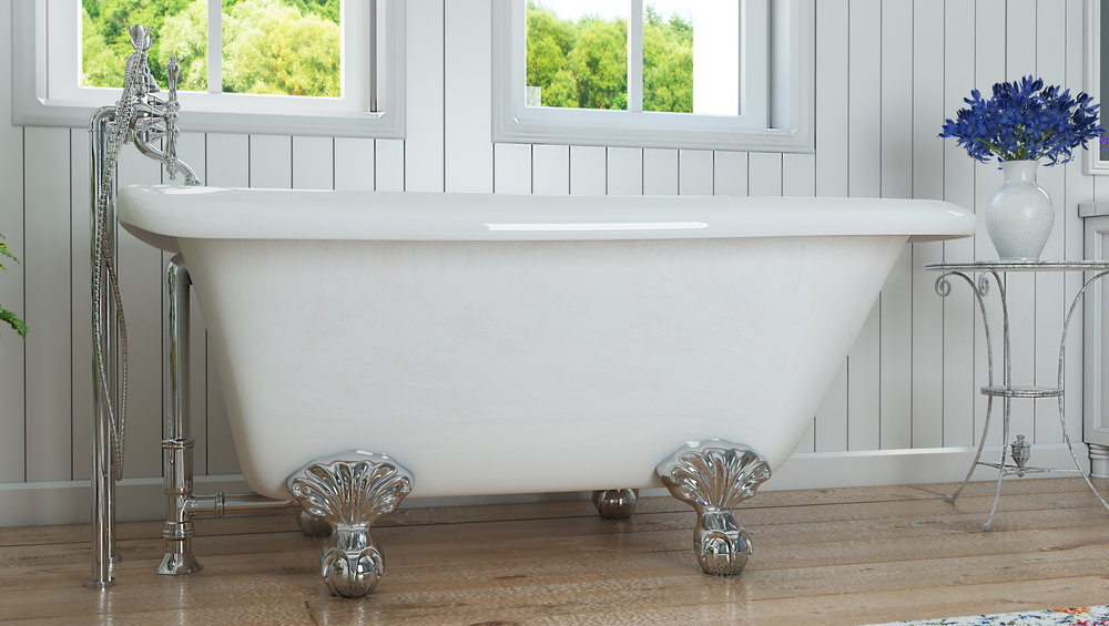 "Highview 54"" Clawfoot Tub in White, Chrome Ball & Claw Feet    $1049.95"