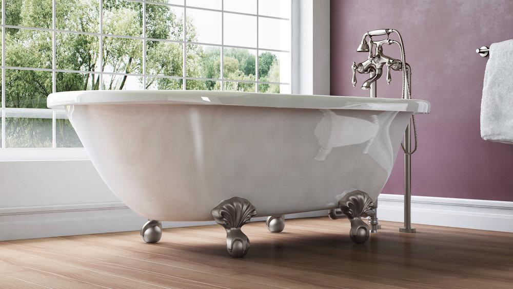 """Highview 54"""" Clawfoot Tub in White, Nickel Ball &Claw Feet  $1049.95"""