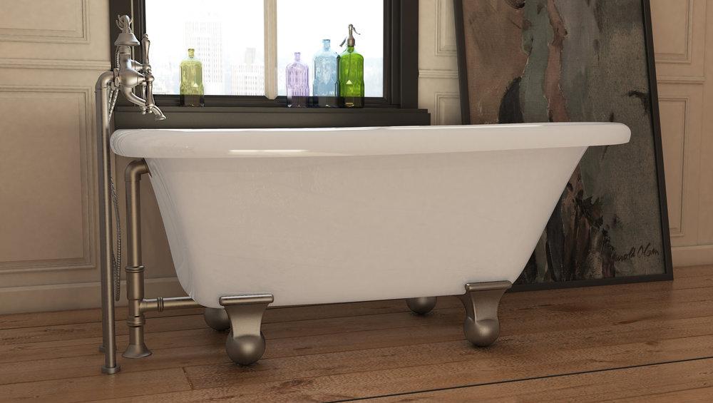 "Highview 54"" Clawfoot Tub in White, Nickel Cannonball Feet  $1049.95"