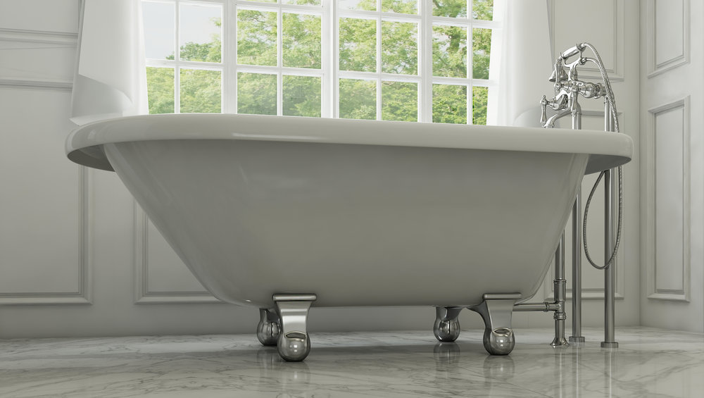 "Highview 54"" Clawfoot Tub in White, Chrome Cannonball Feet    $1049.95"
