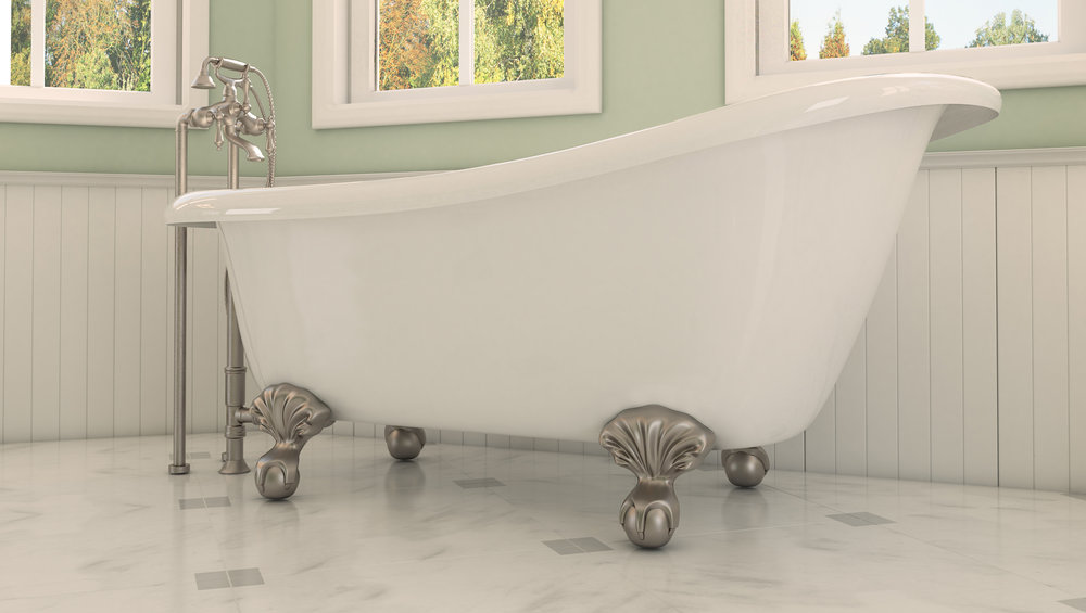 "Glendale 67"" Clawfoot Slipper Tub in White, Nickel Ball & Claw Feet    $1199.95"