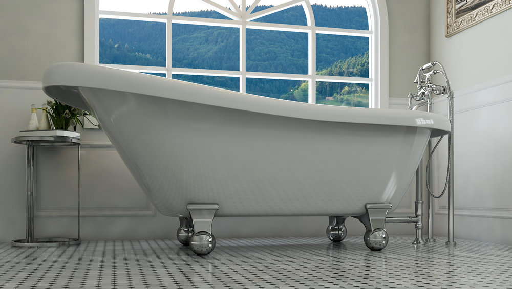 "Glendale 67"" Clawfoot Slipper Tub in White, Chrome Cannonball Feet    $1199.95"