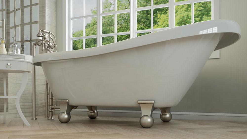 "Glendale 67"" Clawfoot Slipper Tub in White, Nickel Cannonball Feet    $1199.95"