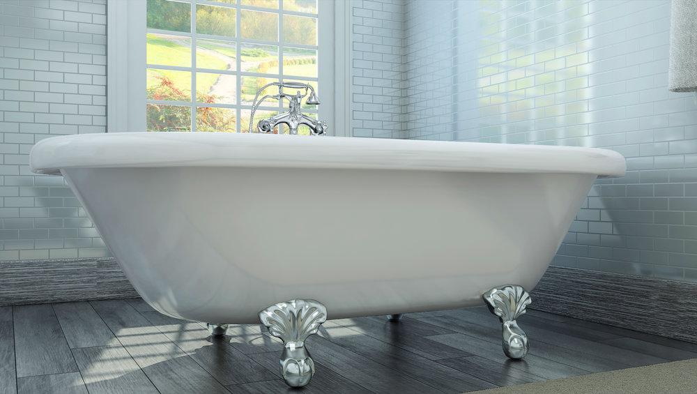 "Northfield 72"" Clawfoot Tub in White, Chrome Ball &Claw Feet  $1399.95"
