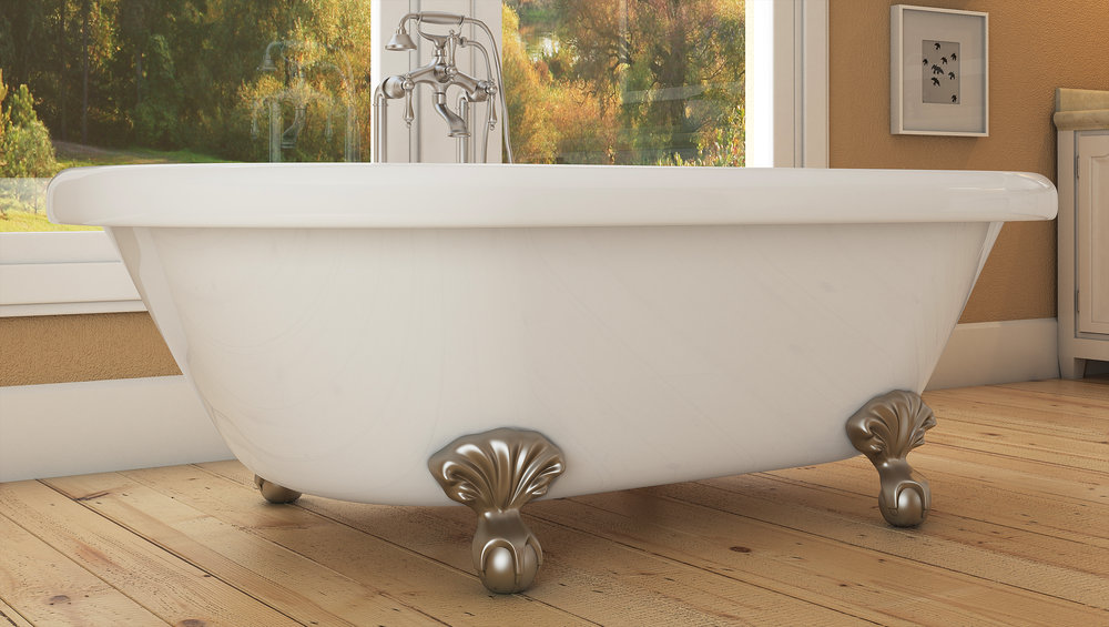 "Northfield 72"" Clawfoot Tub in White, Nickel Ball & Claw Feet    $1399.95"