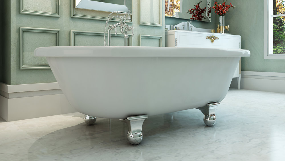 "Northfield 72"" Clawfoot Tub in White, Chrome Cannonball Feet    $1399.95"