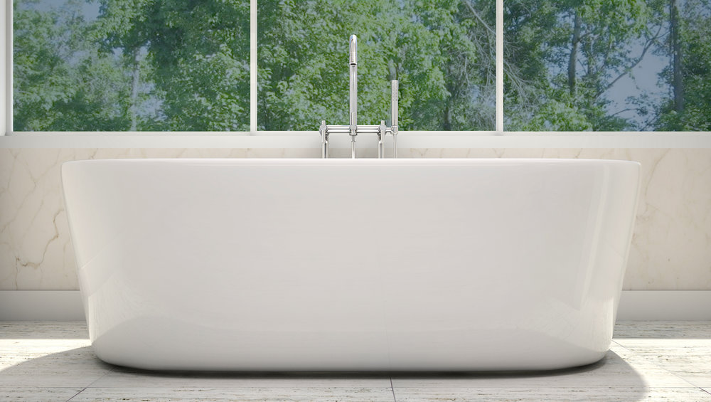 "Newcastle 67"" Freestanding Tub in White, Chrome Drain   $1299.95"