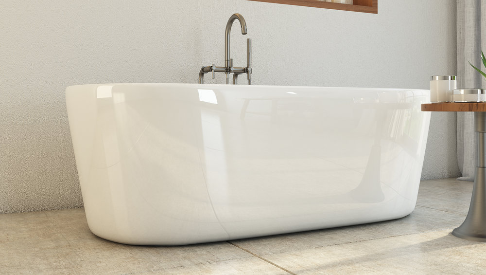 "Newcastle 67"" Freestanding Tub in White, Nickel Drain   $1299.95"