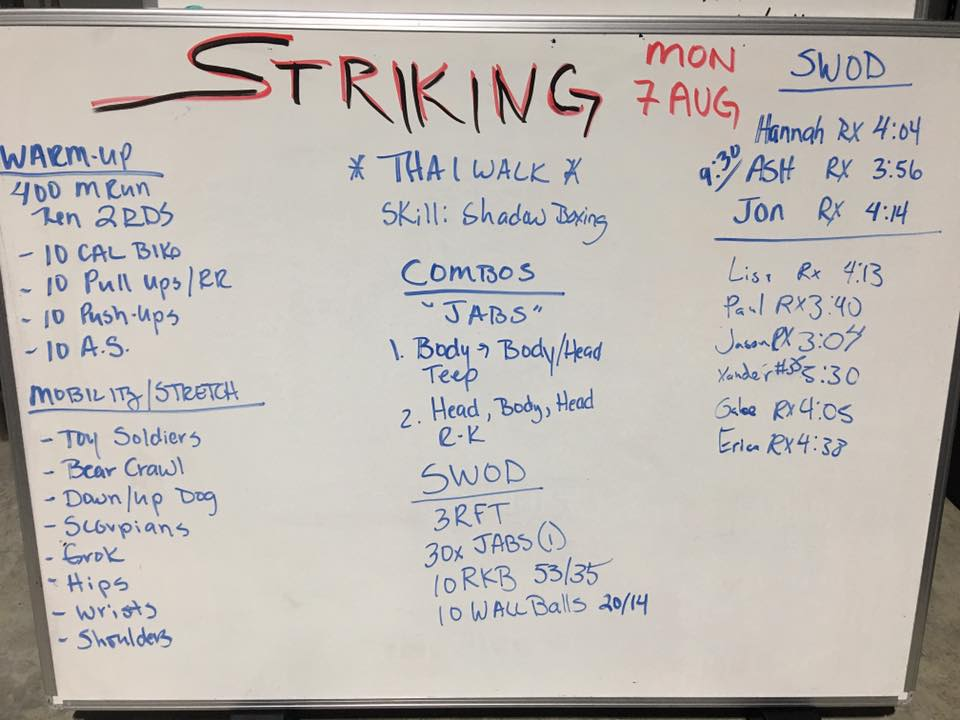Just one example of what a typical CrossFit Striking class looks like.
