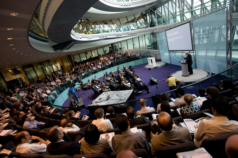 PRESENT  Global media summit presentation and live webcast to the Member's Chamber at City Hall, London. This involved custom set design and AV production.