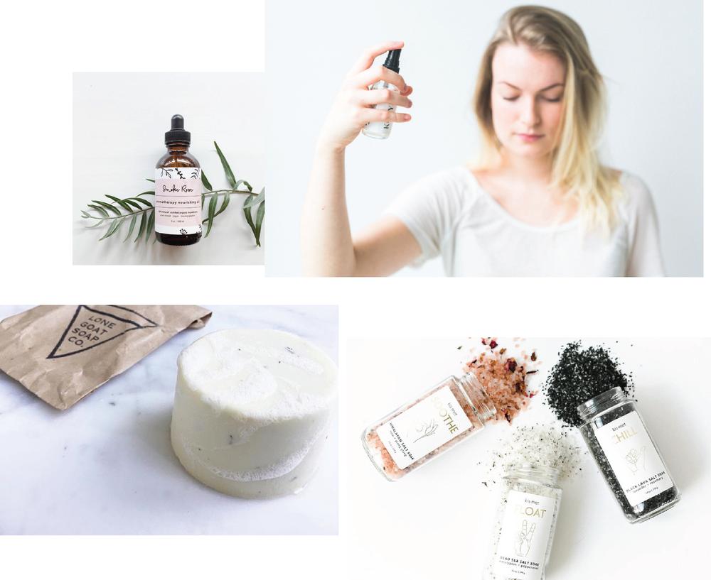 Clockwise L to R: Nootka Naturals, Kunye, Kismet Essentials, Lone Goat Soap