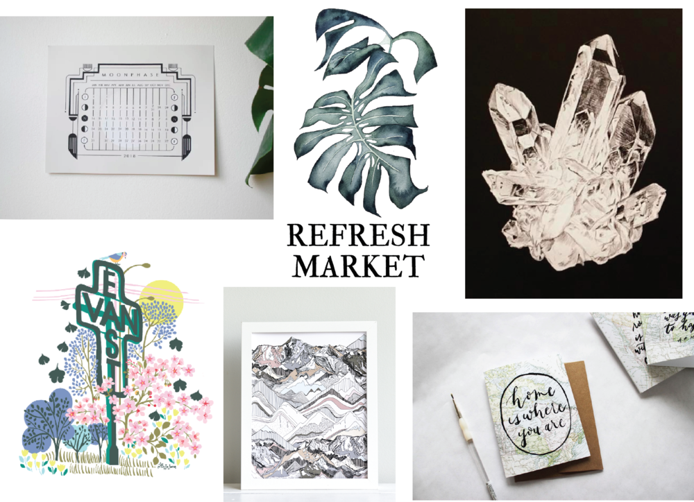 CLOCKWISE L TO R: ANNIE AXTELL, HI RACHAEL RYAN, SARAH HAMMOND STUDIO, OLIVE BRANCH AND CO., NADINE NEVITT, ANJA JANE