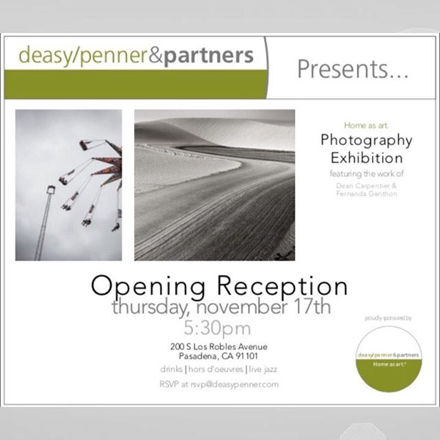 Please join us today Nov 17th,  5:30pm at DeasyPenner Pasadena office for the opening exhibition of Dean Carpentier and Fernanda Genthon. #exhibition #homestyling #home4all #homestyling #homedecor #homedecorideas #housebeautiful