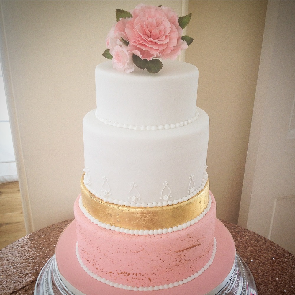 Blush & Gold wedding cake, with sugar peony and roses