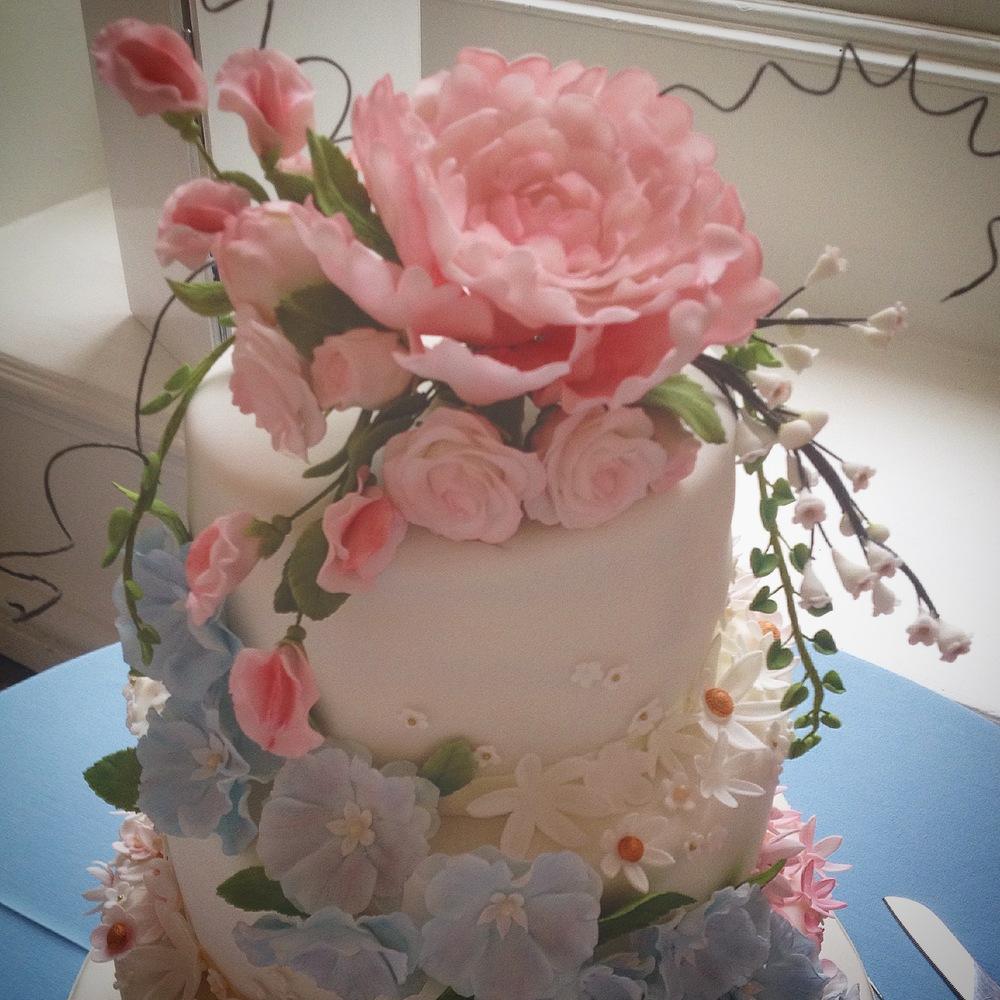 Wedding cake - sugar flowers - roses, peonies, blossom, sweet peas, delphinium