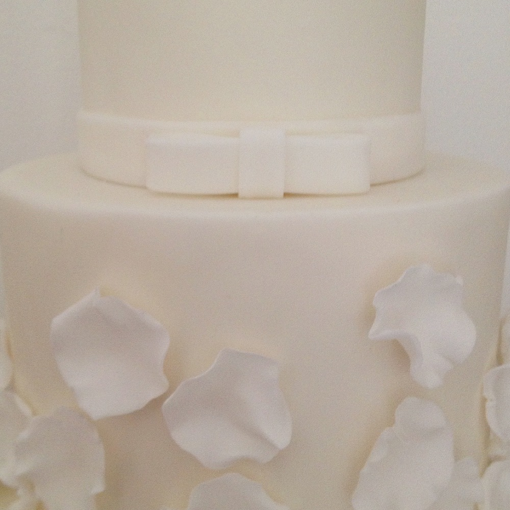 Falling Petals White Wedding Cake - Close up