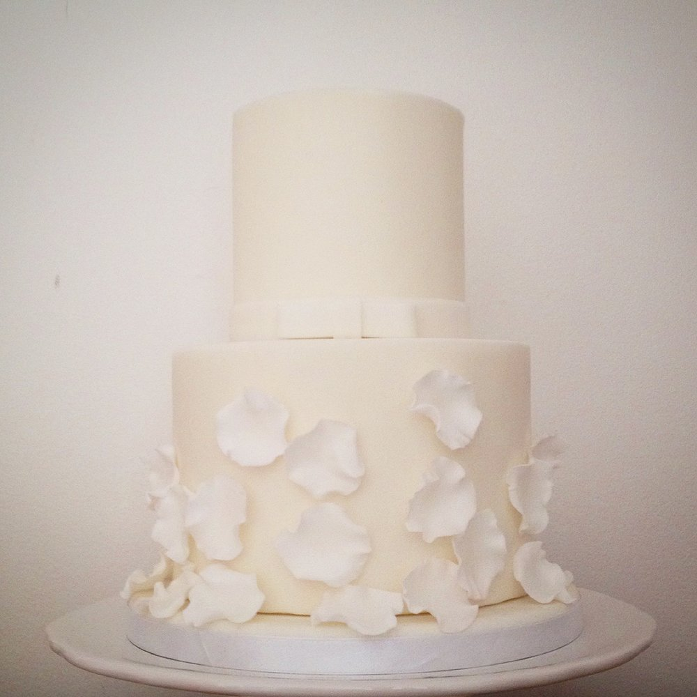 Falling Petals white wedding cake