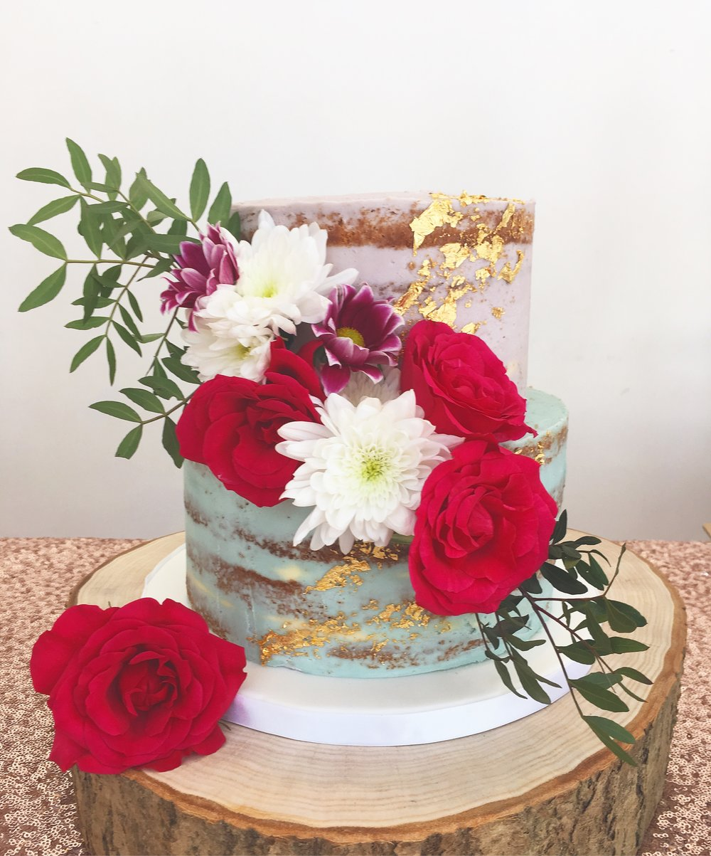 Pastel & Gold Naked Wedding Cake