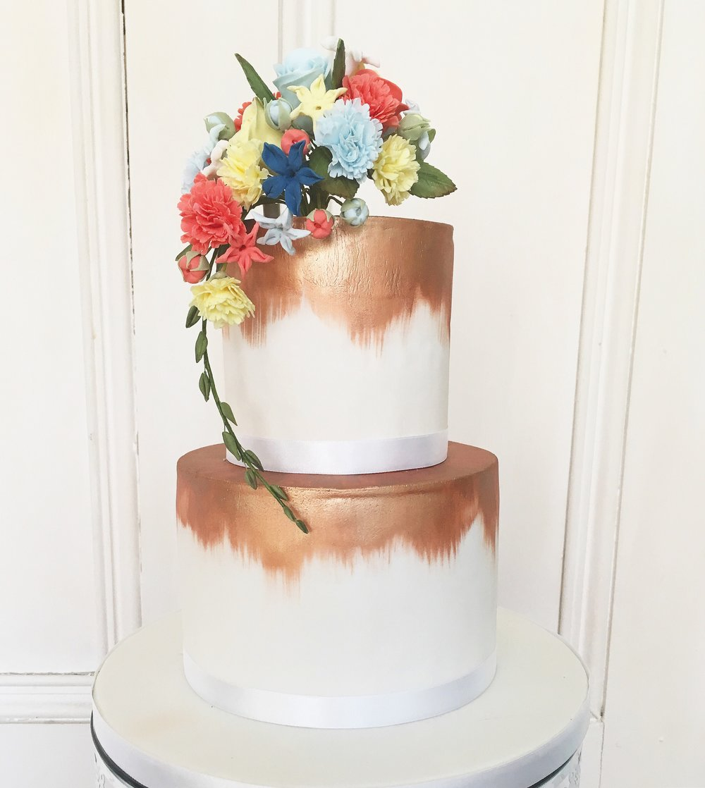 Bronze Bright Flowers Wedding Cake