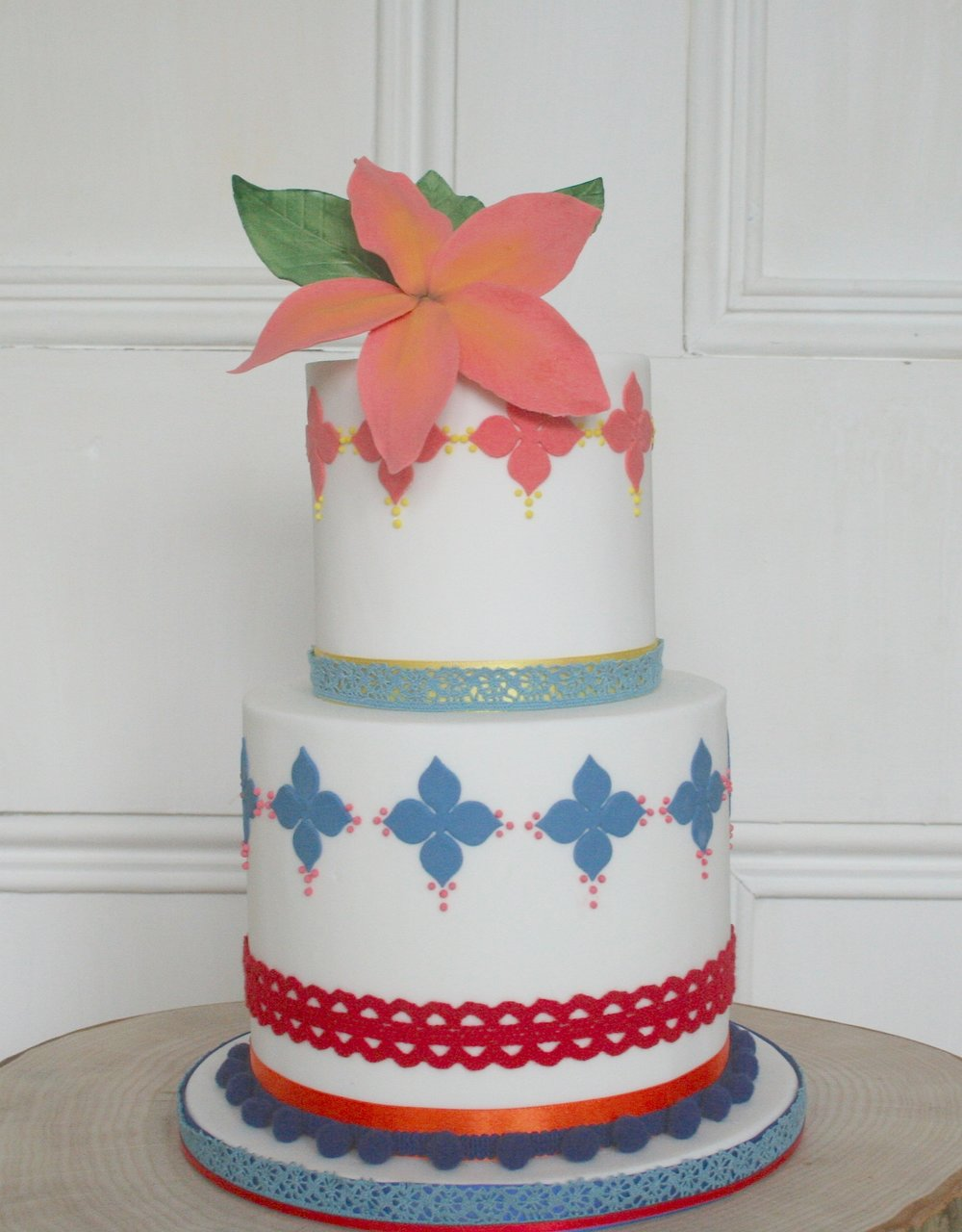 Bright Print Frangipani Wedding Cake