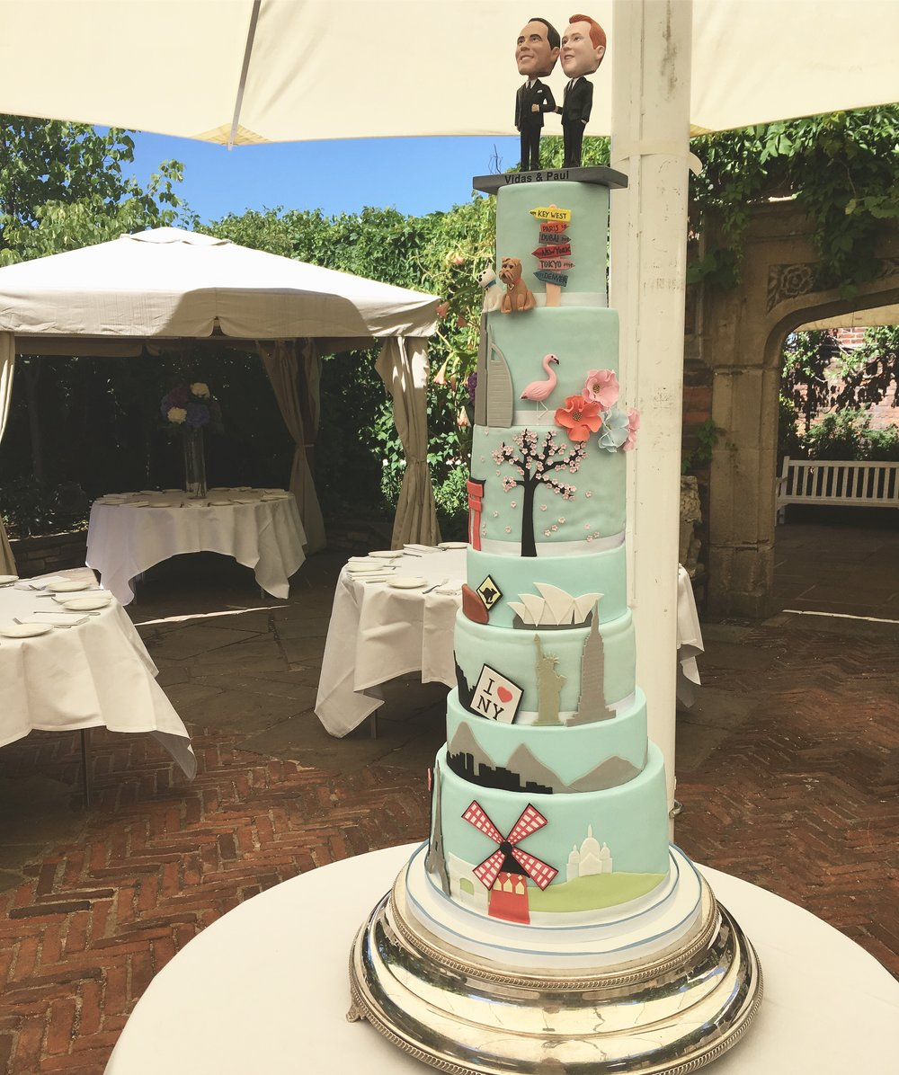 7 tier globe-trotter wedding cake
